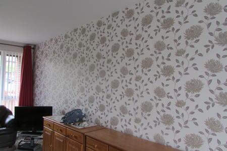 wallpapering sitting room