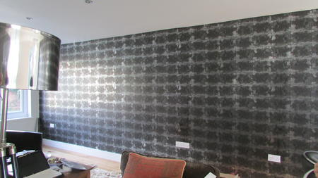 wallpapering lounge room